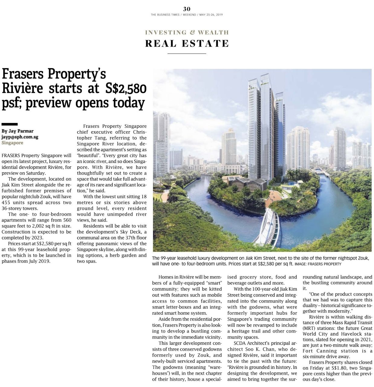 Frasers Property's Riviere starts at S$2,580 psf; preview opens today