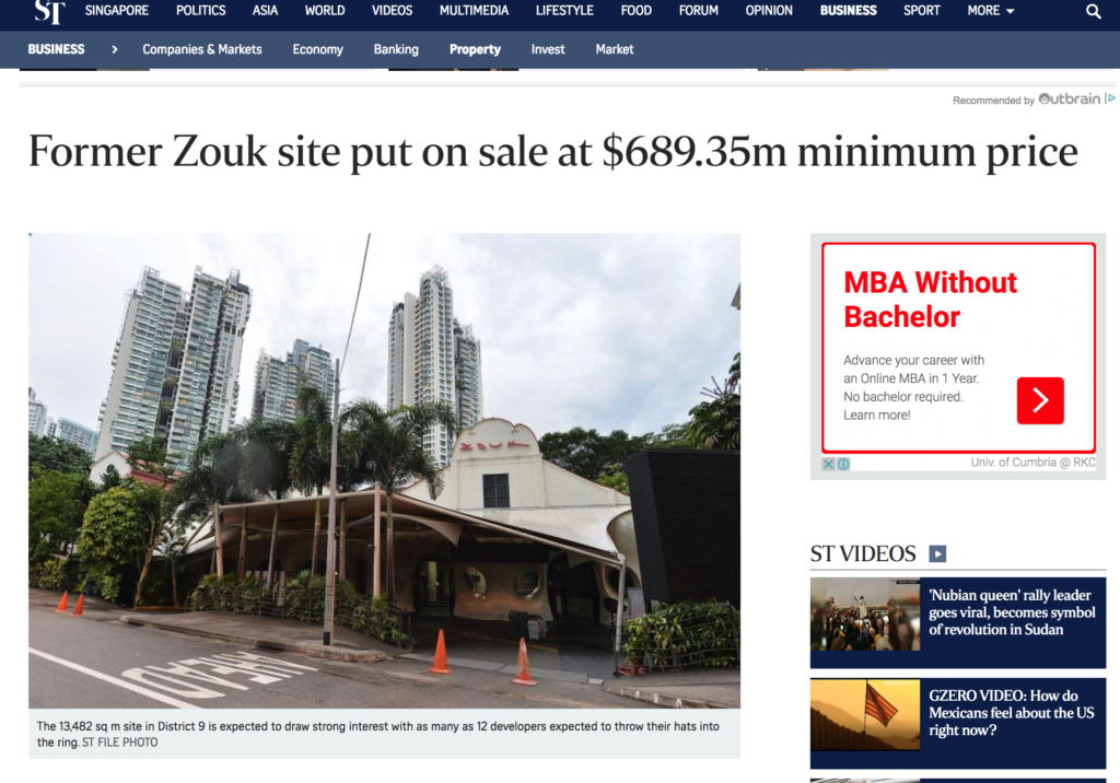 Former Zouk Site On Sale From $689.35 Million